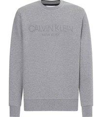 sweater embrossed logo grijs