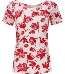 camiseta escote bandeja hojas color rojo, talla 6