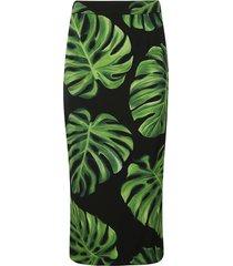 dolce & gabbana leafy print skirt