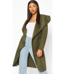 belted shawl collar coat, khaki