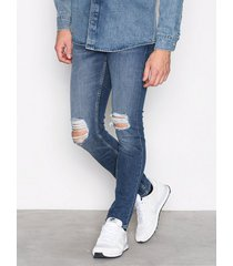 new look bright blue busted knee skinny jeans blue