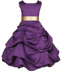 bubble satin purple flower girl dress pageant wedding bridesmaid easter 806s