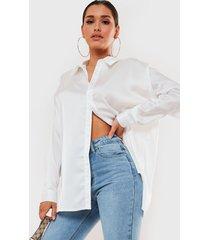 blusa missguided basic satin shirt blanco - calce oversize