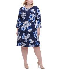 tommy hilfiger plus size floral-print grommet-sleeve dress