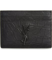 men's saint laurent croc embossed calfskin leather card case - black