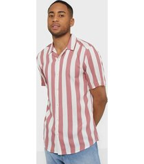 only & sons onscarter ss striped viscose shirt skjortor ljus rosa