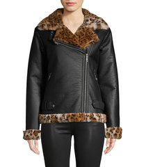 sam edelman women's faux fur-trim moto jacket - black leopard - size xs