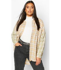plus contrast sleeve flannel oversized shirt, multi
