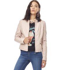 chaqueta pu básica mujer rosa corona