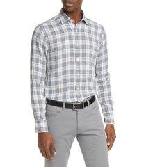 men's canali regular fit plaid linen button-down shirt