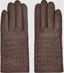 reiss joy - leather weave detail gloves in chocolate, womens, size xxl