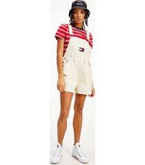 tommy hilfiger women's organic cotton overall shorts sugarcane - xs