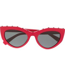 valentino eyewear studded slim cat-eye frames sunglasses - red