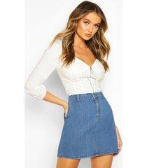 denim rok met discopasvorm, middenblauw