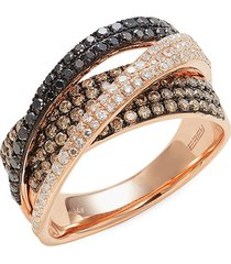 effy women's 14k rose gold & diamond braided band ring - size 7