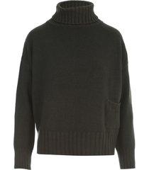 base oversized turtle neck sweater w/pocket