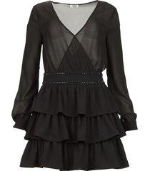 jurk met ruches capri  zwart