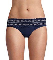 tory burch women's costa hipster smocked bikini bottom - tory navy - size xs
