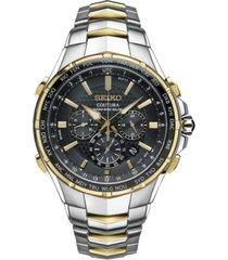 seiko men's coutura radio sync solar chronograph two-tone stainless steel bracelet watch 45mm ssg010