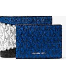 mk portafoglio a libro greyson color block con logo e portadocumenti - black/marine - michael kors