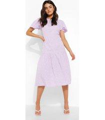 gesmokte midi jurk met stippen en korte mouwen, lilac