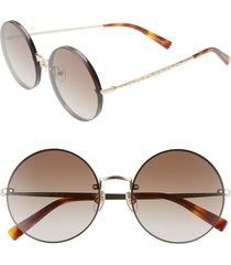 women's rebecca minkoff gloria1 56mm round sunglasses - black/ gold
