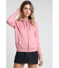 """blusão feminino """"love"""" em moletom com bolsos e capuz rosa"""
