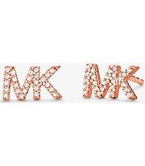 mk orecchini a bottone in argento sterling placcato in metallo prezioso con logo e pavé - oro rosa (oro rosa) - michael kors