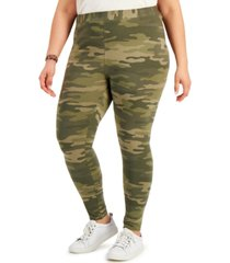 style & co plus size camo-print leggings, created for macy's