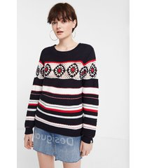 knit striped and floral sweater - blue - xl