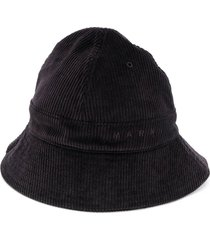 marni corduroy bucket hat - black