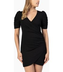 speechless juniors' ruched faux-wrap bodycon dress