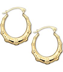 10k gold hoop earrings, small bamboo