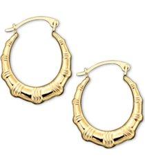 10k gold hoop earrings, small bamboo