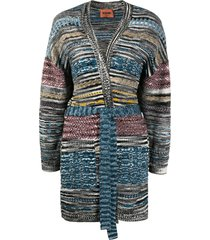missoni intarsia knit belted cardi-coat - black