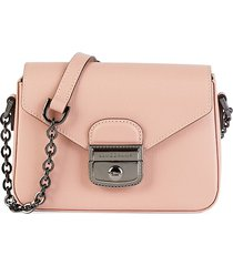 longchamp women's flap leather crossbody bag - pink