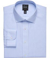 jos. a. bank men's traveler collection tailored fit spread collar stripe dress shirt - big & tall clearance, blue, 16x36
