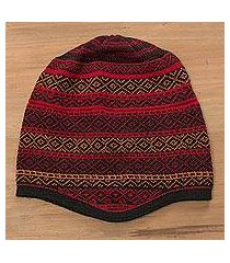 alpaca blend knit hat, 'diamond warmth' (peru)