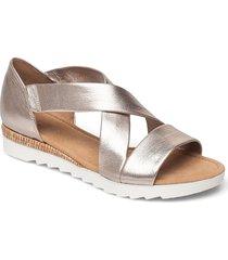 ankle-stap sandal shoes summer shoes flat sandals silver gabor