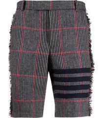 thom browne tweed check shorts - black