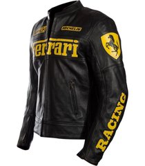 handmade men's ferrari motorcycle leather biker jacket in black with yellow logo