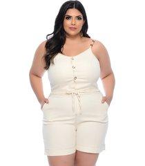 macaquinho plus size manifesto jeans off white alcinhas e botões