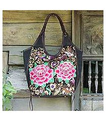 leather accent embroidered shoulder bag, 'mandarin peonies' (thailand)