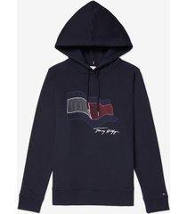 tommy hilfiger women's organic cotton wavy flag hoodie desert sky - xxl