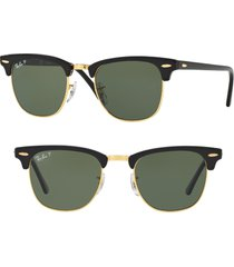 ray-ban 'classic clubmaster' 51mm polarized sunglasses in polar black at nordstrom