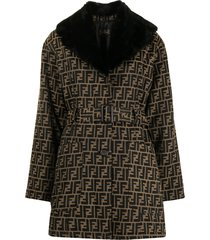 fendi pre-owned ff motif single-breasted belted coat - brown