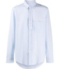 lanvin patch-pocket seersucker shirt - blue
