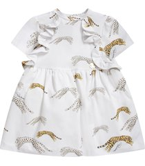 roberto cavalli white babygirl dress with gold metallic logo