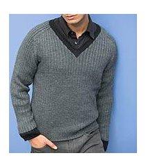 men's alpaca blend sweater, 'informal gray' (peru)