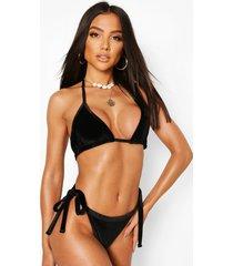 mix & match velvet triangle bikini top, black